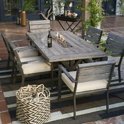 Fire Pit Table Patio Dining Set 6 Chairs and Cushions Outdoor Furniture Rustic