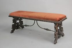 Antique Fantastic Carved Walnut Spanish Revival Bench With Iron Trestle (10382)