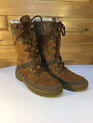 BearPaw Boots Womens Size 8 Serena Distressed Suede Wool Sheepskin Lining Used