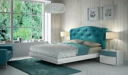 Queen Bedroom White & Turquoise 3Pcs SPECIAL ORDER ESF Fenicia Composition 5
