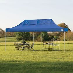 10' x 20' Canopy Tent With Blue Cover Summer Outdoor Shelter Patio Furniture