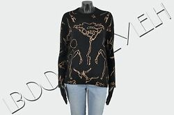 VALENTINO 2700$ Authentic New Crewneck Sweater In Black & Gold Printed Cashmere