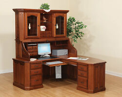 Amish Executive Corner Roll Top Desk Hutch Fifth Avenue Traditional Solid Wood