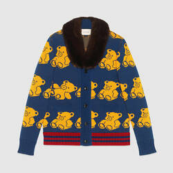 Mens GUCCI Wool bear cardigan with mink collar sweater BRAND NEW