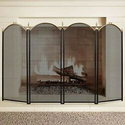 4 Panel Outdoor Large Gold Fireplace Screen Wrought Iron Black Metal Fire Pla...