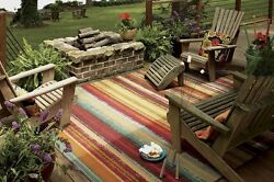 Stain Resistant Area Rug Multicolored Striped Indoor Outdoor 76x10 Carpet New