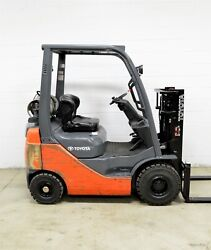 NICE! 2010 TOYOTA 3000 LB LPG PNEUMATIC FORKLIFT UNPAINTED 8FGU15 AIR TIRES