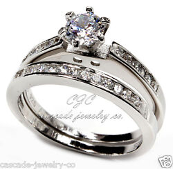 Round Engagement Ring Wedding SET .925 SOLID Sterling Silver Cubic Zirconia CZ