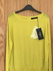 Size Large Weekend by Maxmara Premium Wool Yellow Sicilia Button Back Jumper