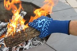 BlueFire Pro Heat Resistant Gloves Oven BBQ Grilling Big Green Egg Fireplace