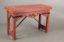 Antique Old  Red Monterey Barker Mason Bench With Wrought Iron Straps (10460)