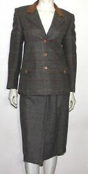 GUCCI vintage leather collar wool plaid skirt and jacket set  42 used