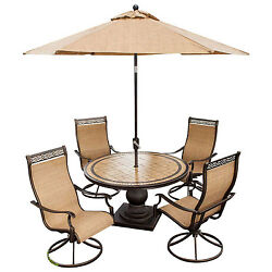 Monaco 5-Piece Outdoor Swivel Chair Dining Set With Umbrella