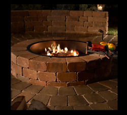 48 Inch Outdoor Backyard Fire Pit Wood Burning Blue Stone Concrete Cook Grate