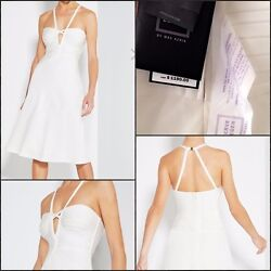 HERVE LEGER white bondage midi dress sz XS
