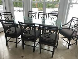 mcguire glass and bamboo dining table set w 8 dining bamboo chairs and 4 stools