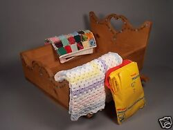 Vintage Cradle for Cabbage Patch Dolls with Patchwork Quilt Crocheted Blanket +