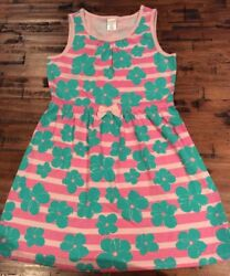 Gymboree Tropical Girls flower knit Pink Green Striped dress size 10 NWT