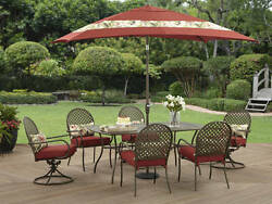 Red 6 Seat Metal Frame Patio Dining Set Outdoor Home Furniture Optional Umbrella