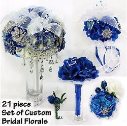 21-pc Royal Blue Bridal Bridesmaids Bouquets Wrist-Corsages Boutonnieres Wedding