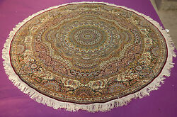 8' Super Luxury Cottage Home Decor Hand Knotted SILK Round 367 KPSI Persian Rug