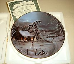 JESSE BARNES Hearts Come Home Cabin Train Snowy Firs NITE BEFORE CHRISTMAS Plate