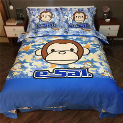 Monkey Twin Queen & King Size Duvet Cover Bed Sheet Bedding Set Blue Camouflage
