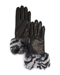 Bloomingdale's Cashmere-Lined Zebra Print Rabbit Fur Gloves Size 7 WAS $198