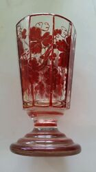 19th Century Antique Biedermeier Glass Cup Red Flash Painted Austrian Bohemian $215.00