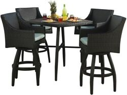 Garden Furniture Outdoor 5Piece Wicker Patio Bar Height Dining Set with Cushion