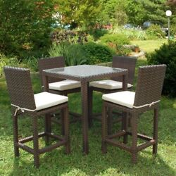 Outdoor Furniture Contemporary Square 5Piece Patio High Dining Set with Cushion