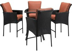 Home Furniture 5Piece All Weather Wicker Square Patio Bar Height with Cushion