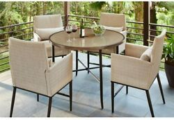 Home Furniture Garden Round Steel Glass Top Table 5Piece Patio High Dining Set