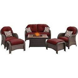 Hanover Newport 6PC Fire Pit Set with Tan Tile Top NEWPT6PCFP-RED-TN