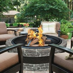 Outdoor Fire Pit Wood Burning Fireplace Backyard Patio Charcoal Gray 35 In