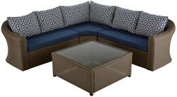 Outdoor Furniture Glass Top Table Brown Wicker Patio Sectional Set with Cushion
