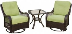 Outdoor Furniture Garden Rocking Chair 3 Piece Patio Lounge Set with Cushion New