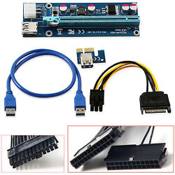 LOT USB 3.0 PCI-E Express 1x To 16x Extender Riser Card Adapter Power 24pin ATX