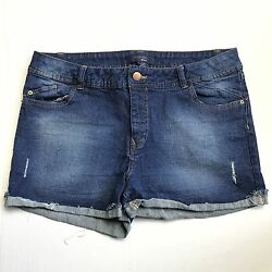 LIQUIDx JEANS STRETCH DENIM SHORT SHORTS CUFFED LEGS SIZE 1516