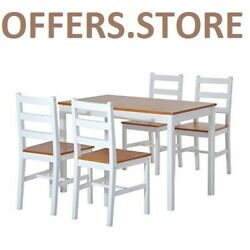 Patio Dining Set 5 Pieces Table Chairs Wood Home Kitchen High Quality Indoor New
