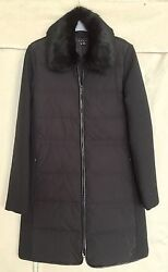THEORY FUR-COLLAR COAT DOWN & WOOL QUILTED LINING LEATHER TRIM BARELY USED!