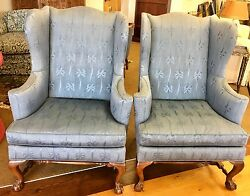 Baker Furniture $6500 Pair of Matching Sculptural Blue Wing Back Arm Chairs