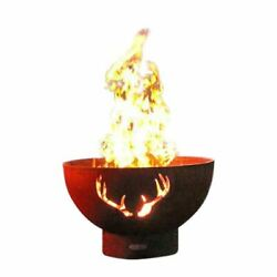 Antlers Match Lit Fire Pit with Brass Burner - LP