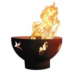 Sea Creatures Electronic Fire Pit with Brass Burner - NG