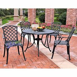 Home Garden Furniture Patio High Back Seat Cast Aluminum Outdoor Dining Set New
