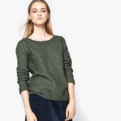 La Redoute Collections Womens JumperSweater With Button Back Br  Green M