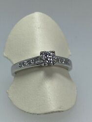 0.65ct Solitaire with Accents Diamond Engagement Ring in 18K White Gold