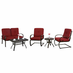Patio 5 PC Bistro Garden Set Cushion Outdoor Furniture Wrought Iron Cushion Set