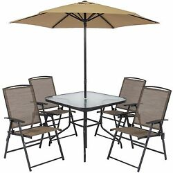 Patio Garden 6Pc Folding Dining Set Yard Outdoor Furniture Chair Table Umbrella