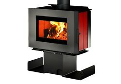 Osburn SOHO Wood Stove Fireplace Modern Contemporary 2 Sided Pedestal Red Enamel
